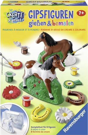 Ravensburger Gipsfiguren Pferde giessen und bemalen, Set für 8 Figuren, ab 7 Jahren 64728522